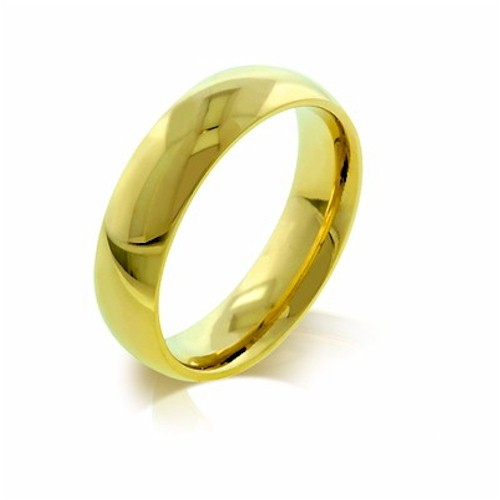 stainless steel 5mm gold plated plain band ring fr072